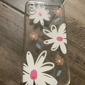iPhone XS Max Clear Flower Print Case Cover